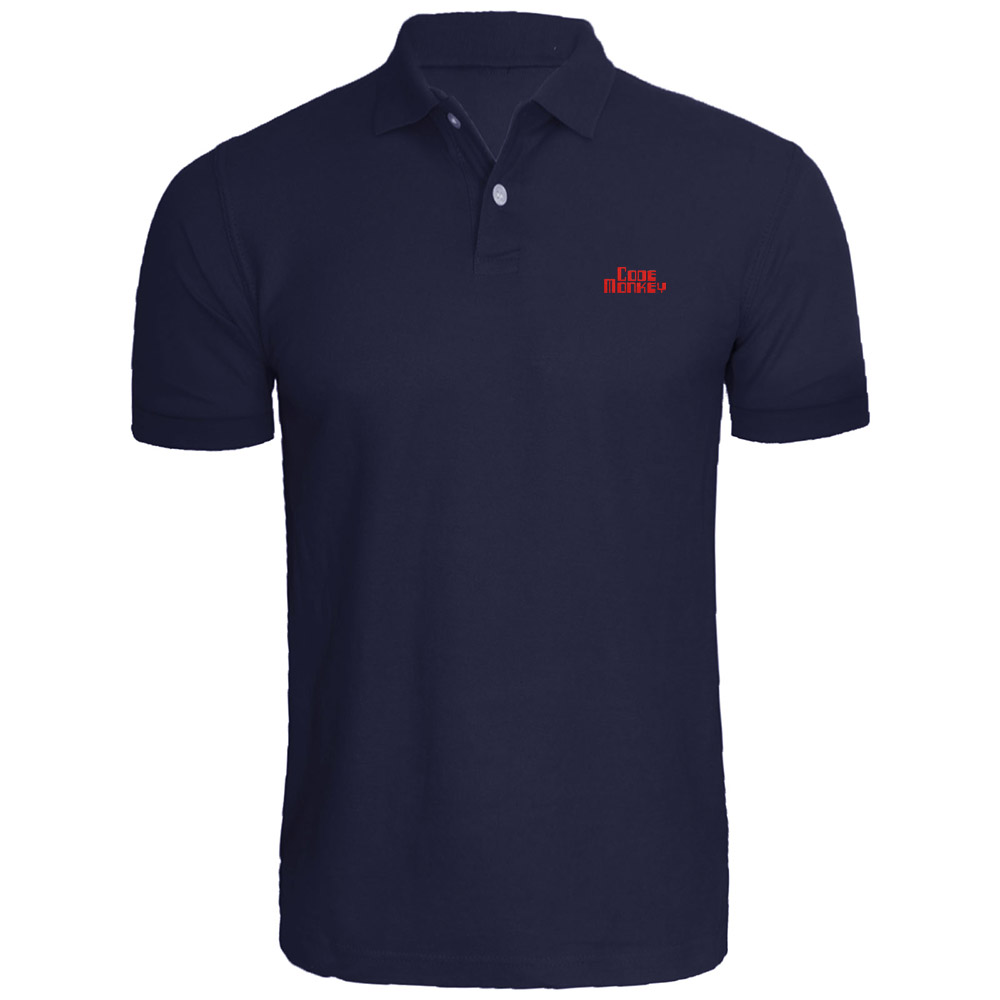 Mens Code Monkey Computer Embroidered   Polo   Shirts Embroidery Shirts