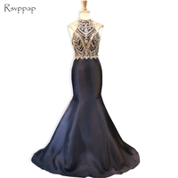 Long Evening Dress 2017 Real Sample High Neck Sleeveless Gold Beaded Backless New Arrival Women Black