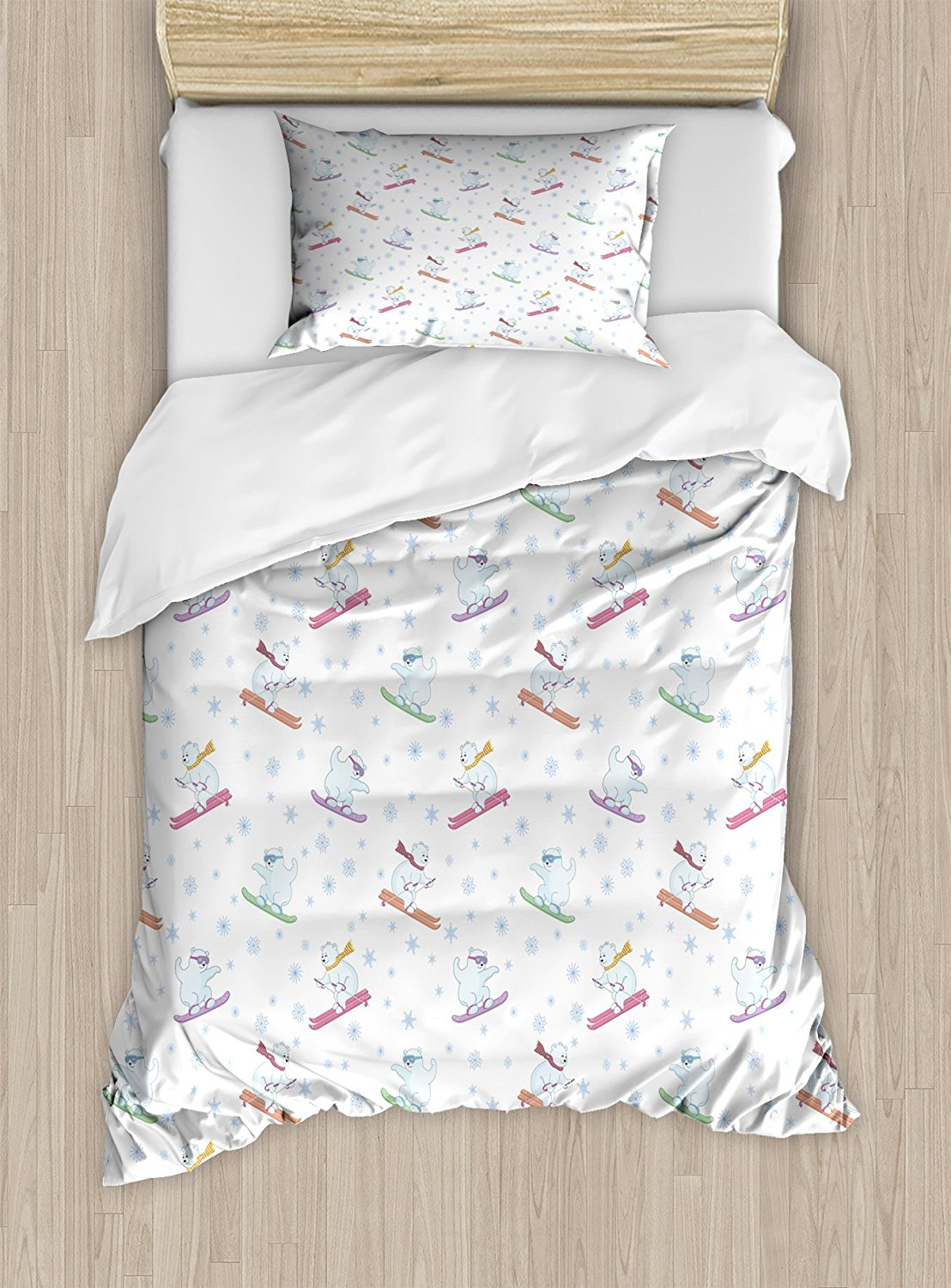 Bear Duvet Cover Set Funny Polar Teddy Bears on Snowboards Skiing with Scarf and Glasses Ornate Snowflakes
