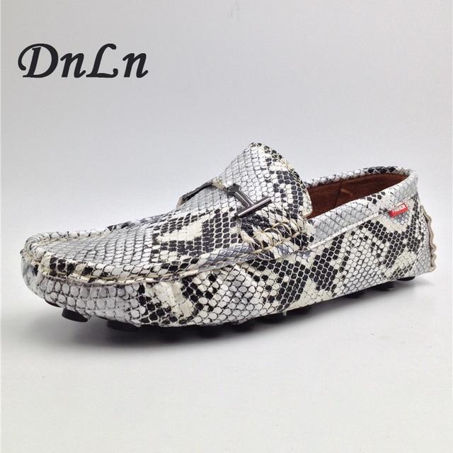 Змеиный принт Мужская обувь на плоской подошве Повседневная кожаная обувь Мокасины мужские лоферы слипоны Мода Змея Стиль Мужская обувь для вождения 2 # D30