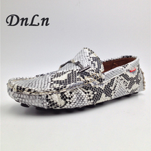 Serpentine Print Men's Flats Casual Leather Shoes Moccasins Men Loafers Slip On Fashion Snake Style Male Driving Shoes 25D50