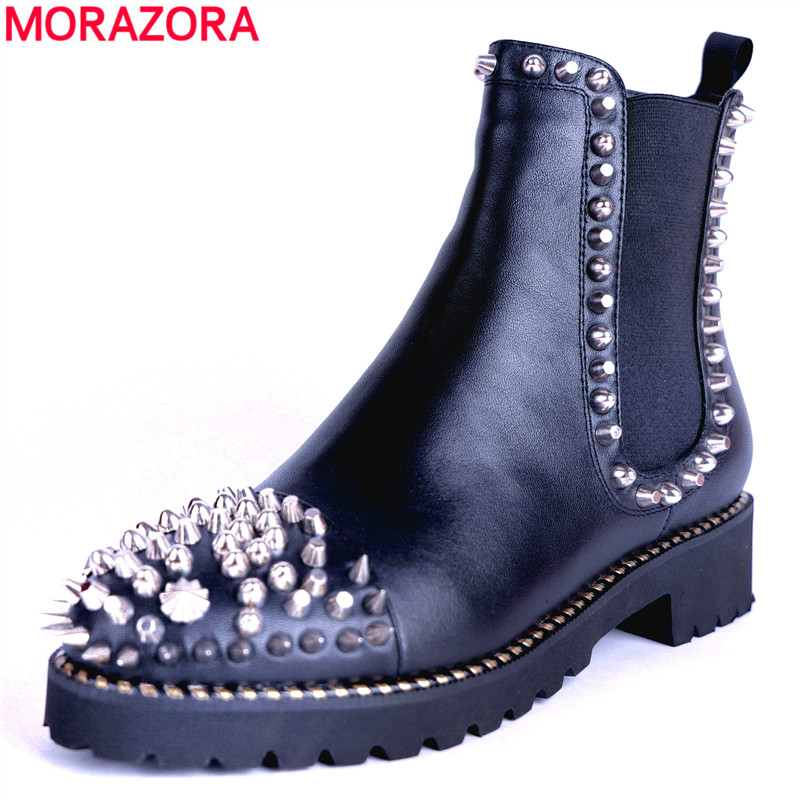 MORAZORA 2018 hot sale ankle boots for women autumn winter genuine leather boots slip on fashion rivet Martin boots punk shoes стоимость