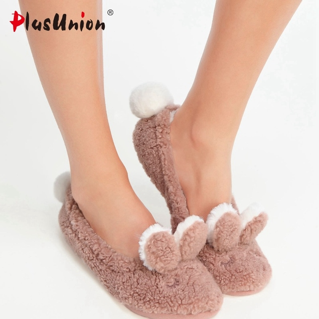 premium selection 97e5d fb7dd US $9.99  plusunion rabbit flock indoor flat slippers furry rihanna slides  house home with fur flip flops women plush feathers s165-in Slippers from  ...