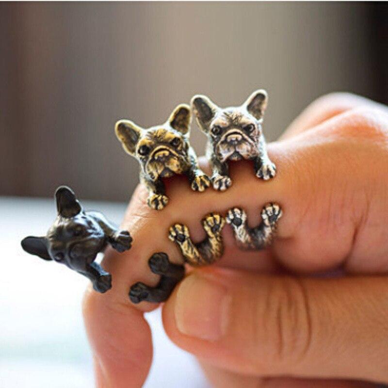 100% QualitäT 1 Stück 2018 Französisch Bulldog Puggs Finger Ring Wrap Ringe Nette Goldene Silber Schwarz Punk Ringe Frauen Männer Unisex Mode Trendy Tier üBerlegene (In) QualitäT