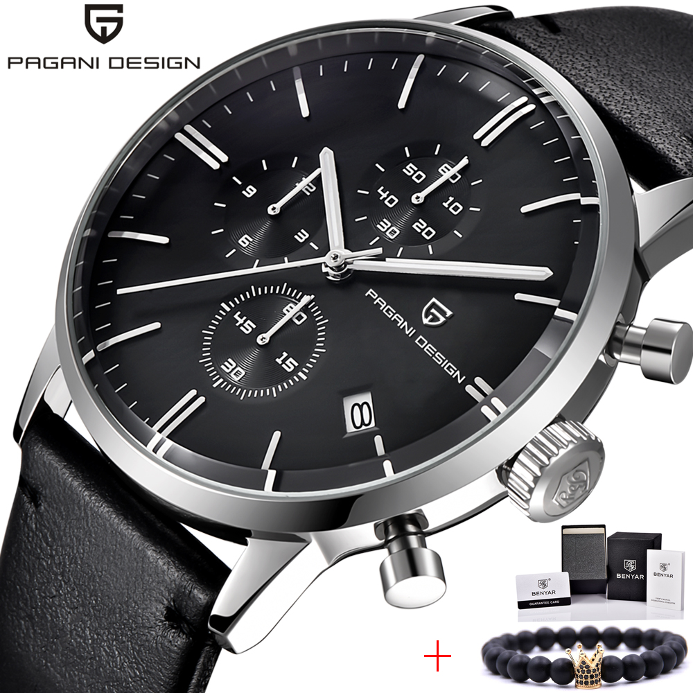 PAGANI DESIGN Top Brand Luxury Design Men Watches Chronograph Leather Quartz Watches Men's Fashion Sport Military Wristwatch skmei men watch sport altimeter pressure thermomet weather pedometer calories compass multifunction led digit wrist watches men