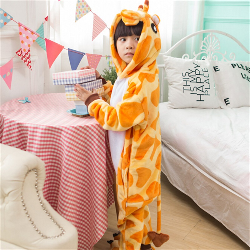Boy Girl Kigurumi Giraffie Cosplay Onesie Fancy Soft Animal Costume Overall Child Kid Baby Funny Carnival Jumpsuit