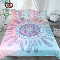 BeddingOutlet Mandala Bedding Set Pink And Blue Duvet Cover With Pillowcases Feathers Bed Set Bohemian Printed