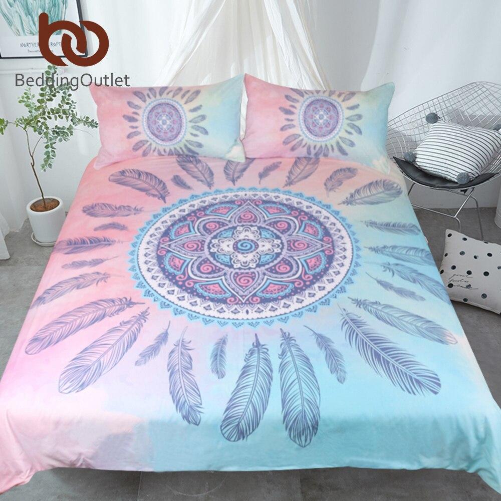Literieoutlet Mandala Literie Rose et Bleu Housse de couette Avec Taies D'oreiller Plumes Parure de Lit Bohème Imprimé Literie 3 pcs