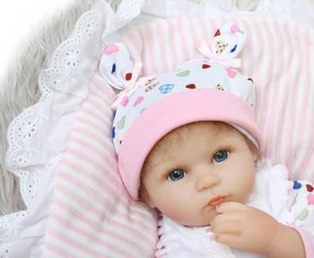 "42cm Bebe Reborn Toy Dolls 18"" Soft Silicone Vinyl Reborn Toddler Girl Dolls Handmade Baby Real Alive Reborn Bonecas"