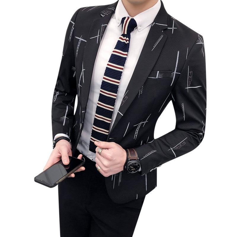 Hiver Coréenne Beau Slim De Et Loisirs Masculine Veste Marée Impression Unique Version Automne Livraison Jeunesse Costume YBq5w8F
