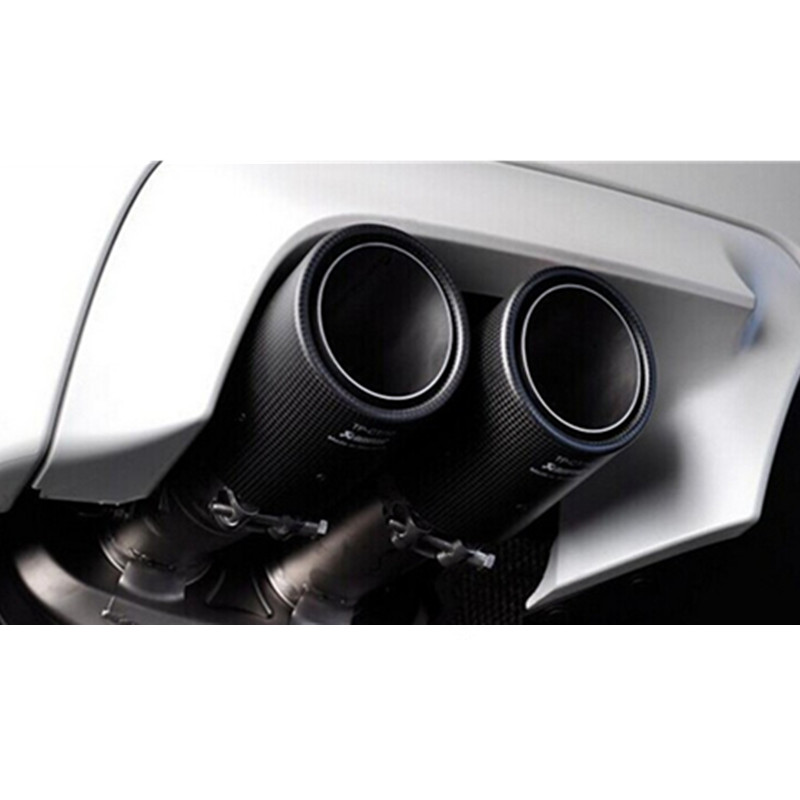 """2 X IN 2.5/"""" 63MM OUT 4.0/"""" 101MM Akrapovic Glossy Carbon Fiber Pipe Exhaust Tip"""