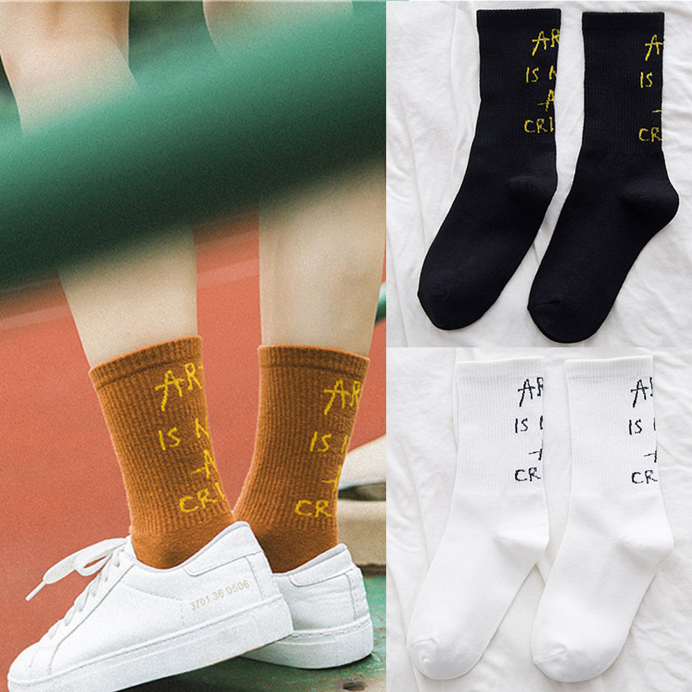 2018 New Fashion Creative Women And Men's Cotton Letter Kntting   Sock   Floor Heap   Socks   High school women's   socks   Casual   sock