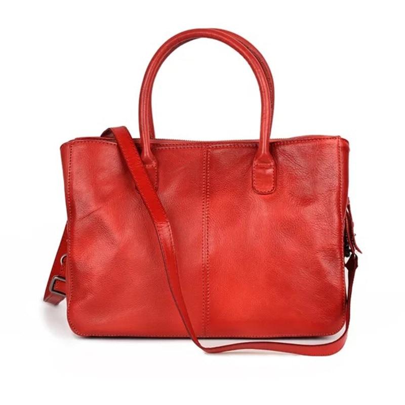 Classical Design Genuine Leather Zipper Closure Female Green Black Purse Retro Women One Shoulder Bag Cowskin