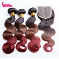 """Ombre Malaysian Body Wave Hair With Closure.16-26"""" 8A Three tone Ombre Human Hair With Lace Closure,Ombre closure with bundles"""
