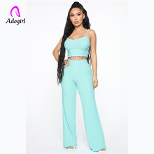 Adogirl 2 Piece Set Women Solid Off The Shoulder Camis Crop Top and Pants Sexy Female Summer Matching