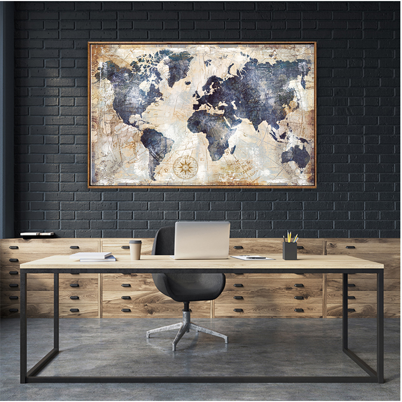 MUTU Canvas Paintings Home Decor 1 Pieces World Map Pictures HD Prints Fashion Abstract Poster Living Room Wall Art No Frame