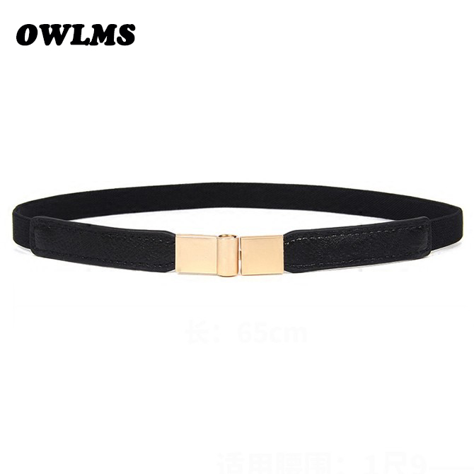 Black Alloy Flower Buckle Thin Elastic Waistband Gold Buckles Women Skinny Belt Dress Cummerbund PU Leather Black Stretchy Belts