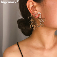 Ingemark Vintage Ethnic Gypsy Stud Earrings For Women Ladies Metal Abstract Hollow Out Grimace Face Earrings Boho Brincos 2019 vintage hollow out pattern spiral stud earrings