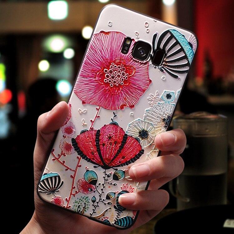 3D Flower Emboss Case For Samsung Galaxy J7 J3 J5 A5 J4 J6 A6 Plus A70