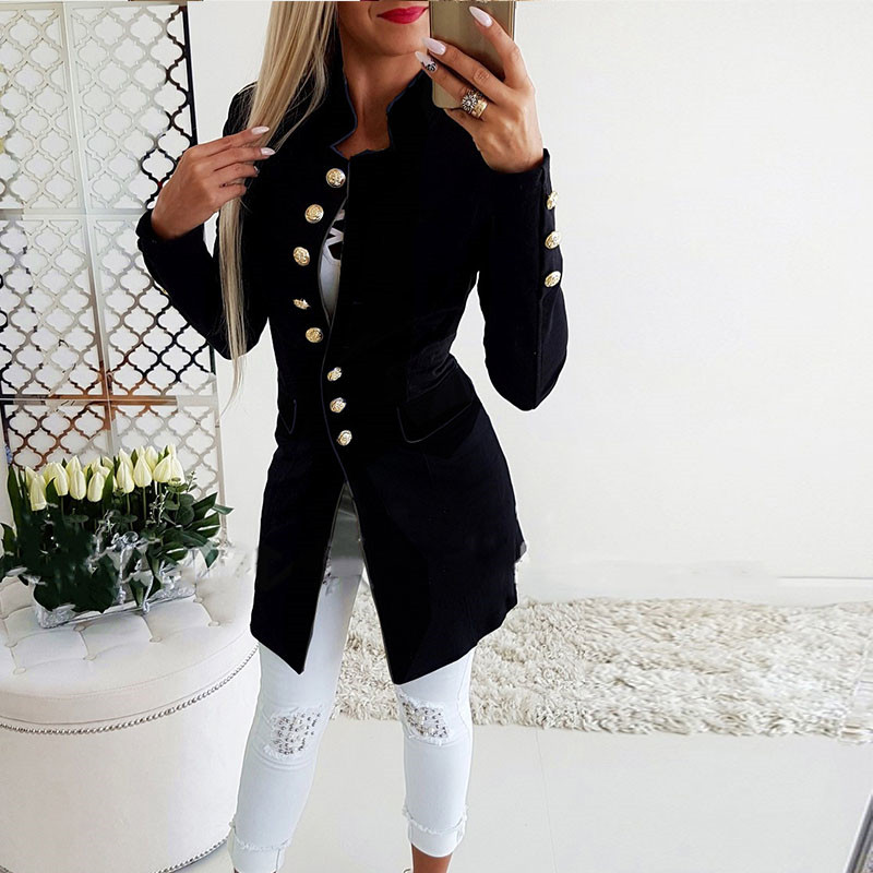 Ahagaga 2018 Winter Spring Blazers Women Fashion Mandarin Collar Solid Long Sleeve Single Breasted Casual Slim Women Suits Blusa