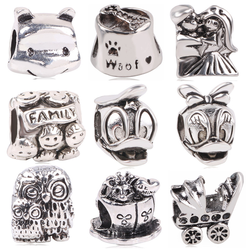 AIFEILI Silver Color European Owl Mouse Duck Baby Carriage Bear DIY Bead&Jewelry Marking For Pandora Charm Bracelets