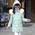Casacos de inverno para Adolescente Meninas Gola De Pele Com Capuz de Médio-longo Casacos Quentes 2016 Moda Parkas Crianças Outerwear Crianças Roupas