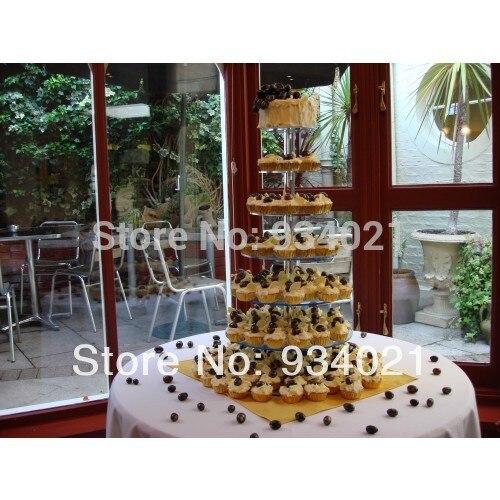 Livraison gratuite personnalisé Design moderne 7 niveaux acrylique gâteau Stand, acrylique tasse gâteau affichage décoration de mariage