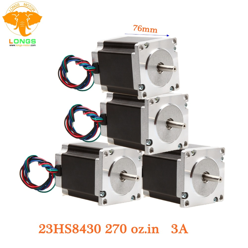 CNC Stepper Motor 4pcs Nema 23 270 oz in 1 9NM single shaft 3A 23HS8430 CNC