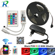 hot deal buy 5m full set led strip 5050 rgb lighting led strips dc12v 5m 150 leds fleixble neon lamp cuttable with 24keys wifi controller