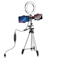 6.3 Inch LED Video Ring Light+Mini Desktop Tripod 10 Levels Brightness for Youtube Network Broadcast Selfie Makeup Photography