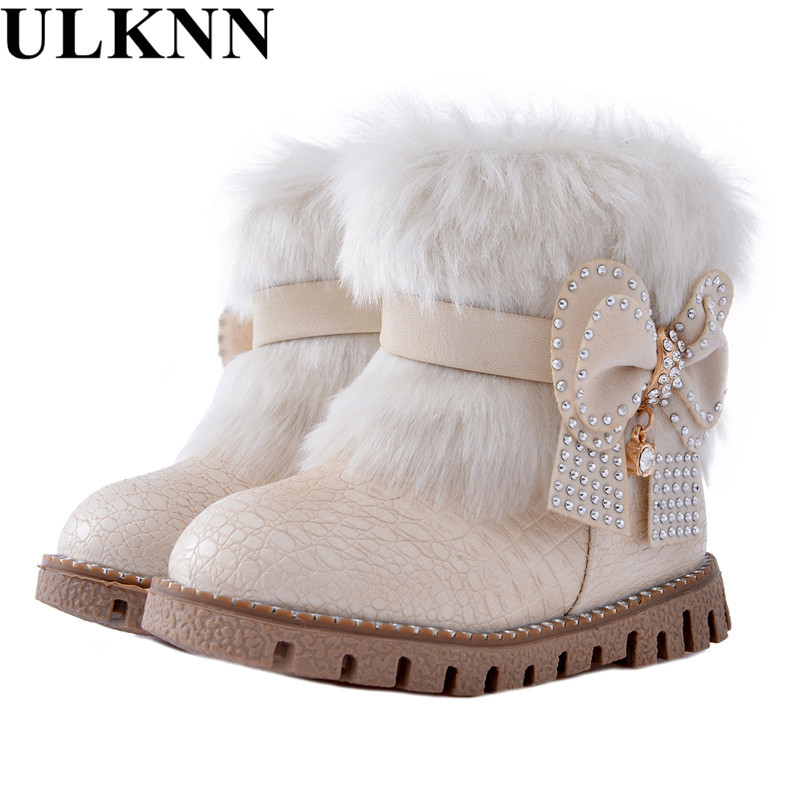 ULKNN Butterfly-knot girls snow boots winter warm Flat with round toe zip kids shoes baby beige black boot size 21-25 pink plush