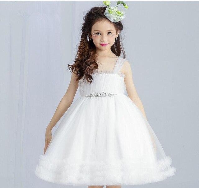 US $30.0 50% OFF|Top Qualität Perlen Blumenmädchen Kleid Sleeveless Mädchen Hochzeit Ballkleid Weiß Spitze Prinzessin Erstkommunion Kleider in Top
