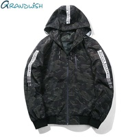 Grandwish Mens Casual Camouflage Hooded Jacket Letter Printed Bomber Hooded Jacket Men 2017 New Camo Jacket
