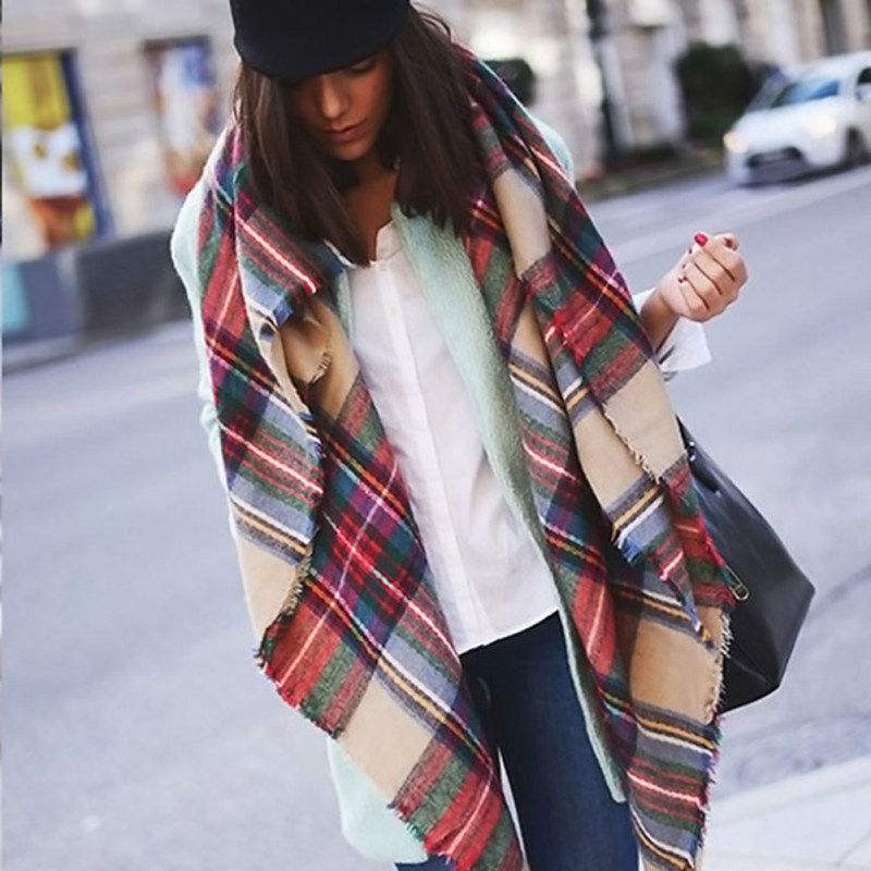 New Women Blanket Oversized font b Tartan b font Plaid Scarf Wrap Shawl Poncho Jacket Coat