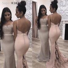SuperKimJo Mermaid Bridesmaid Dresses Long 2019 Vestido De Festa Longo Pink Lace Applique Beaded Wedding Party Dress
