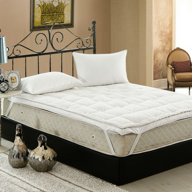 Peter Khanun Hot Sales Brand Design White Duck Down Goose Feather Filler Bed Mat 100 Cotton