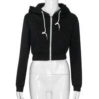 6cb9c0bfd6 Cropped Hoodies Women Solid Fashion Sweatshirt Polerones Mujer Hooded  Zipper Hoody 2019 Women Clothes Moletom Feminino