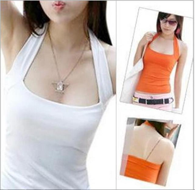 hot sale sexy womens lady low cut halter neck vest shirts