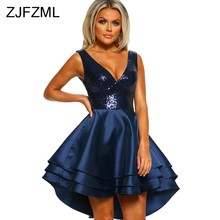Sparkly Sequins Sexy A-Line Dress New Women Deep V Neck Sleeveless Front  Short Back 35a5304cf775