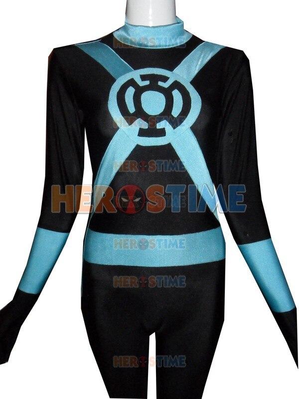 custom style Green Lantern Costume Spandex Superhero Light Blue lantern fullbody zentai suit halloween costume