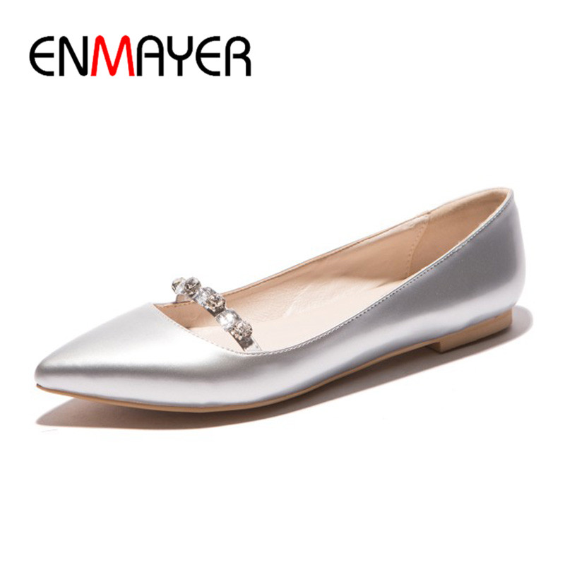 ENMAYER Summer Women Casual Fashion Flats Shoes Boat Shoes Rhinestone Pointed Toe Slip-On Large Size 34-43 Black Red Silver new hot spring summer high quality fashion trend simple classic solid pleated flats casual pointed toe women office boat shoes