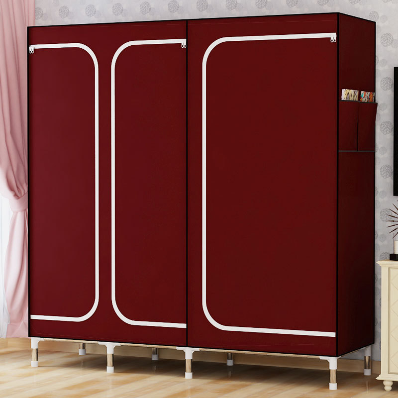 DIY sell well Oxford Cloth Wardrobe Large Simple Home Steel Clothes Storage Assembly wardrobe, cloth wardrobe the new cloth wardrobe simple reinforcement of low housing assembly large folding cloth