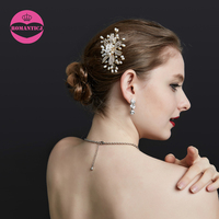LUOSU High Quality Hair Accessories Freshwater Pearl Crystal Small White Enamel Flower Gold Color Hair Combs
