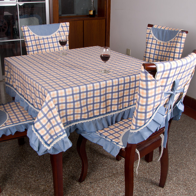 American fashion grid cloth table cloth tablecloth dining table cloth old coarse dining table chair cover wateroil dining table