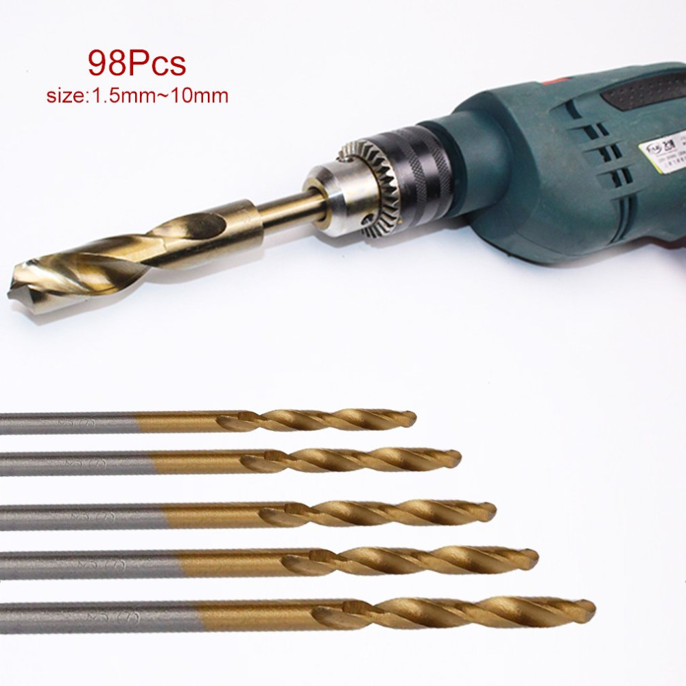 98PCS/Set 1.5-10mm High Speed Steel Titanium Coated Cobalt HSS-Co Steel Twist Drill Bit Set Wood Metal Drilling Tools Drop Ship free shipping of 1pc hss 6542 made cnc full grinded hss taper shank twist drill bit 11 175mm for steel