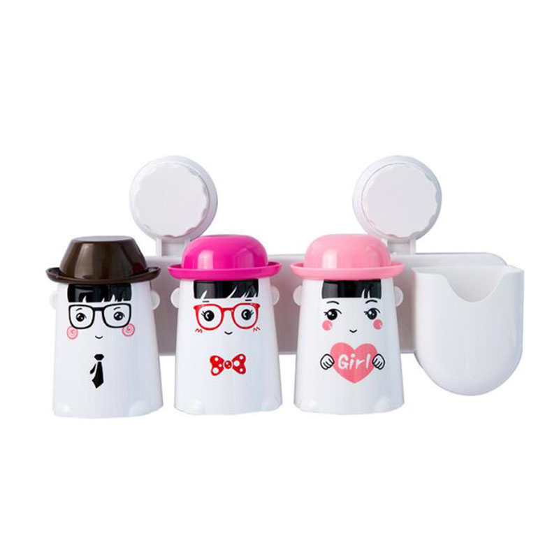 The new cartoon happy family of three sucker toothbrush holder suit Suction wall hanging storage in Toothbrush Toothpaste Holders from Home Garden