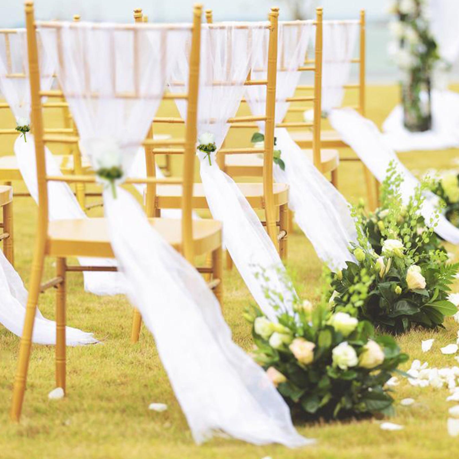 Spiaggia tema di nozze 30 pz bianco della Sedia del Organza Fiocchi e Fasce con il bianco Champagne fiore di rosa per la Cerimonia Nuziale Del Partito Banchetto della Sedia Decorazione - 2