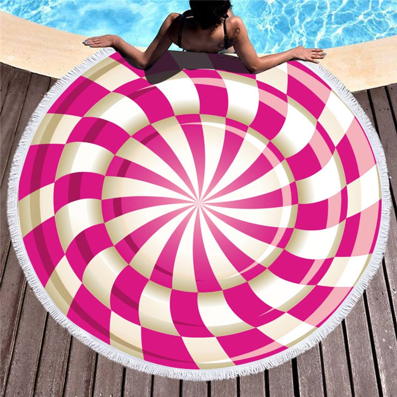 Lannidaa Pink Round Beach Towel With Tassel Soft Microfiber Quick Dry Picnic Blanket Mat Pool 150cm Large Yoga Mat Home Textile in Bath Towels from Home Garden