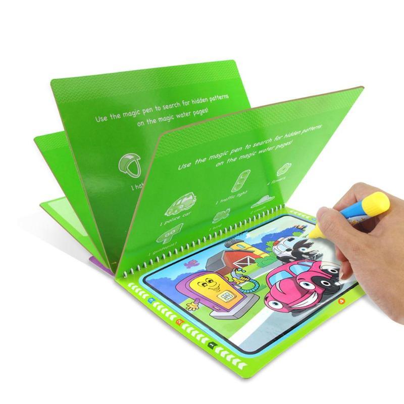 Многоразовая Волшебная книга для рисования водой с ручкой, книжка-раскраска, доска для рисования для детей, обучающие игрушки для мальчиков...