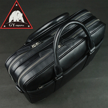 ANAPH Office Work Bags Men Black Real Cow Leather Business Briefcases 15 Inch Laptop Bag Top Quality With Double Zippers Open